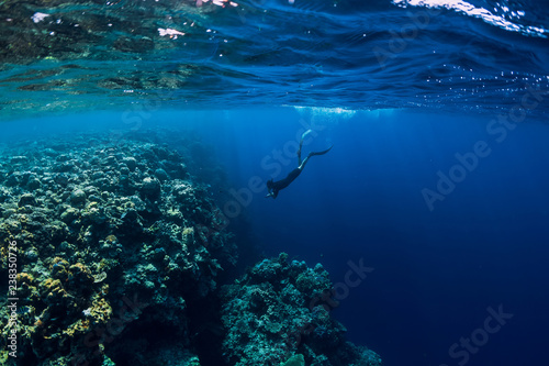 Leinwanddruck Bild Free diver man dive in ocean, underwater view with rocks and corals