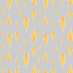 Seamless pattern with yellow painted thunderbolt, vector zipper,