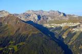 Mountain morning view in Lauterbrunnen valley in Switzerland.