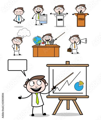 Fototapeta Cartoon Professional Businessman Poses Set
