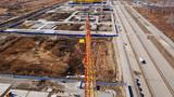 camera panorama along the jib of a tower crane. Ekaterinburg, Russia - 238360591