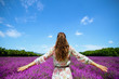 stylish woman in lavender field in Provence, France rejoicing