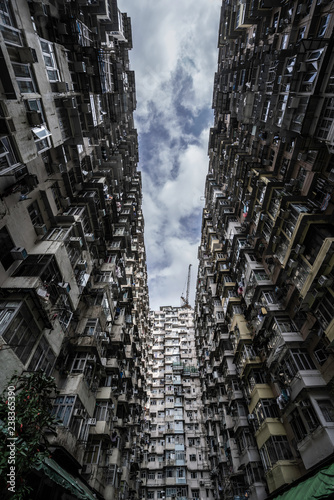 A small strip of sky between appartment buildings in Hong Kong