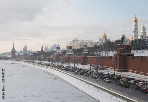 Moscow, Russia - December 1, 2018: Frosty winter sunny morning on The Kremlin embankment. View near to the Big stone bridge and the Cathedral of Christ the Saviour. Moscow. Russia.