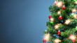 Christmas tree part with shiny decorations, blue background - 238370348
