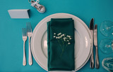 Table setting detail at a wedding reception. - 238371519