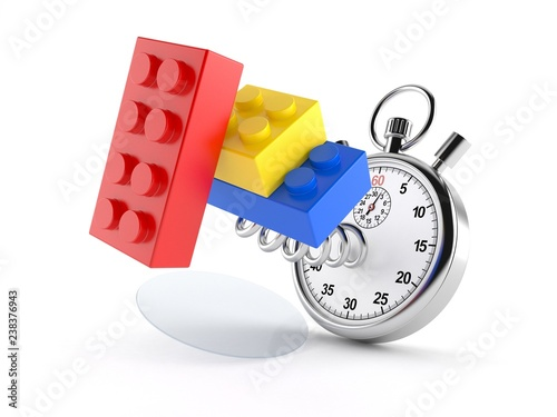 Toy blocks with stopwatch