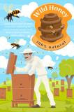 Beekeeping and beekeeper at honey apiary
