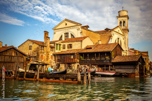 Boatyard in Venice with church