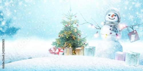 Schneemann - Weihnachtsmotiv - 238386163