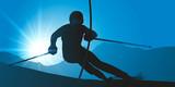 Lors d'une compétition de slalom, un skieur expérimenté, descend une piste de ski  à toute vitesse