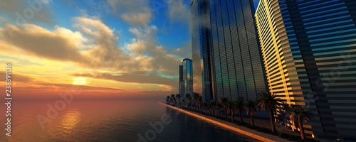 Skyscrapers on the sea, modern high-rise buildings on the ocean at sunset, 3d rendering