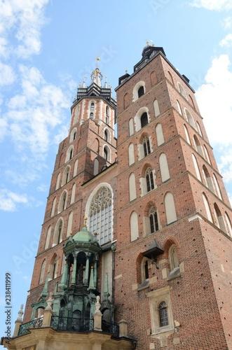 Towers of Saint Mary  church in Krakow