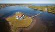 Aerial panoramic view of Pays de la Sagouine, Bouctouche, New Brunswick, Canada.