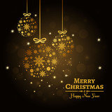 Gold christmas ornaments. Merry Christmas card.
