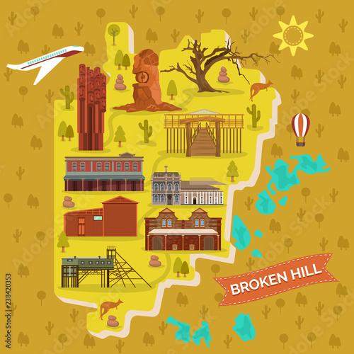 Map Of Australia Landmarks.Broken Hills Map Australia Famous Landmarks Buy Photos Ap