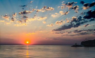 sunset over the sea © BohdanM