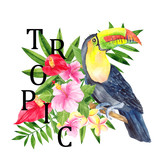 Watercolor illustration with tropical animals and parrot, flower, leaves