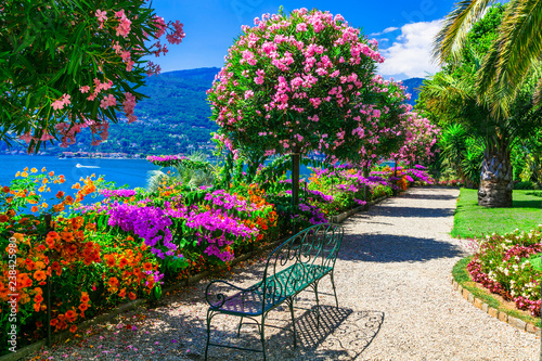 "Leinwandbild Motiv Lago Maggiore - beautiful ""Isola madre"" with ornamental floral gardens. Northen Italy"