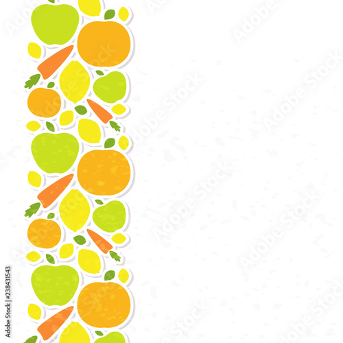 Healthy food veggie banner design, poster with decorated fruits and vegetables - 238431543