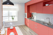 Kitchen interior in light colors. Scandinavian style. color of the year 2019 livingcoral