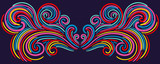 Colorful abstract curly element for design, swirl, curl. Divider, frame isolated on dark background. Vector illustration.