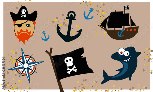 Set pirate icons vector