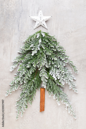 Foto Murales Christmas tree flat lay.