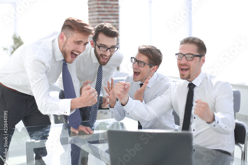 employees discuss ideas for a new business project - 238441195
