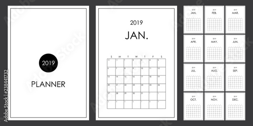 Simple And Minimal Planner Design Of 2019 Calendar Organizer