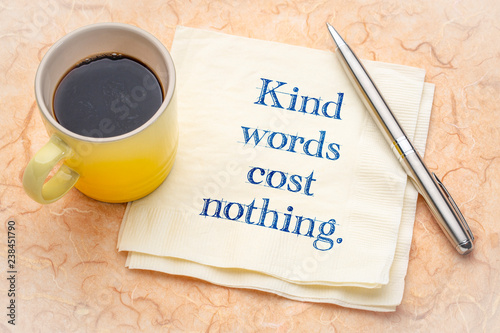 canvas print picture Kind words cost nothing - note on napkin
