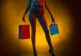 Fashion, lingerie, a young girl in pantyhose. Intimate shopping. Sex shop. Delivery of goods from sex shop. Woman with shopping bags, shopping. Naked breast and vagina. Women's themes. Female clothing