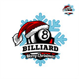 Billiard Santa Snow Flake Logo 01