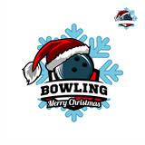 Bowling Santa Snow Flake Logo 01