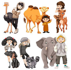 Set of people and animal