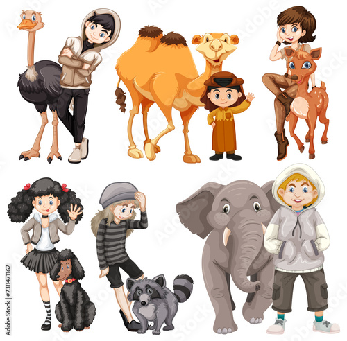 Set of people and animal - 238471162