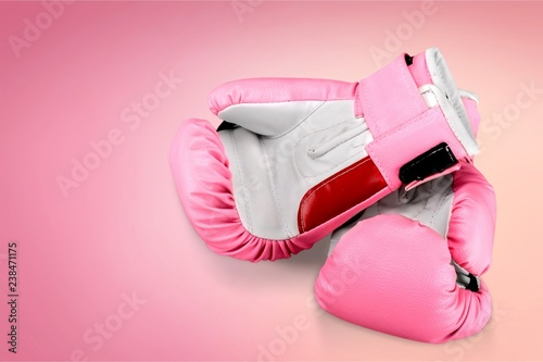 Pink boxing gloves on background - 238471175