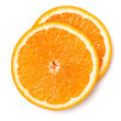 Quadro Orange fruit slice  isolated on white background closeup. Food background. Flat lay, top view.
