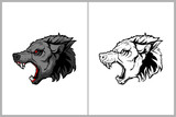 aggressive and angry wolf head vector © infernal  kiss