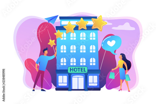 Business people with rating stars like the stylish boutique hotel. Boutique hotel, ultra-personalized service, high-end residential concept. Bright vibrant violet vector isolated illustration - 238481998