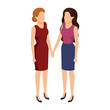 couple businesswomen avatars characters