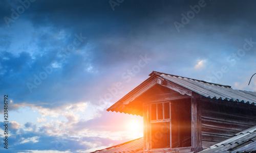 House brick roof. Mixed media - 238486792