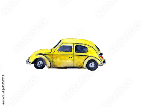 watercolor vintage yellow retro car, isolated on white background © atichat