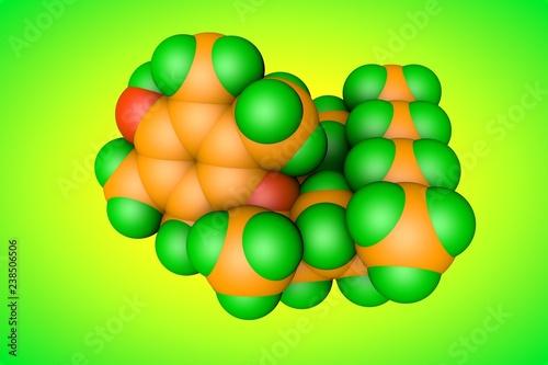 Leinwanddruck Bild Molecular model of vitamin E, alpha-tocopherol. Also known as aquasol E or phytogermine. Scientific background. 3d illustration