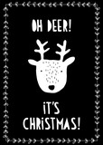 Funny Hand Drawn Christmas Vector Card. White Deer and Floral Frame on a Black Background. White Handwritten Letters. Oh Deer, It's Christmas Text. Cute Infantile Style Illustration.