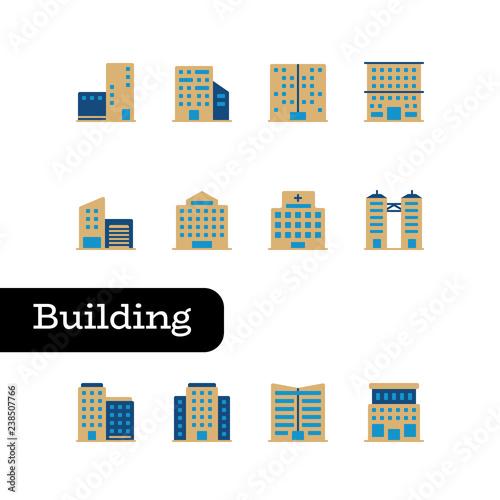 Fototapeta zestaw ikon budynku