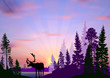 deer silhouette in forest at lilac sunset - 238507997