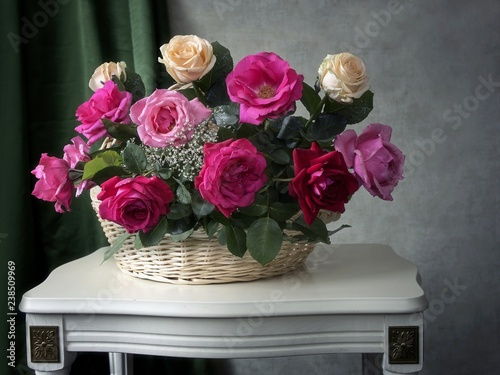 Still life with beautiful bouquet of garden roses