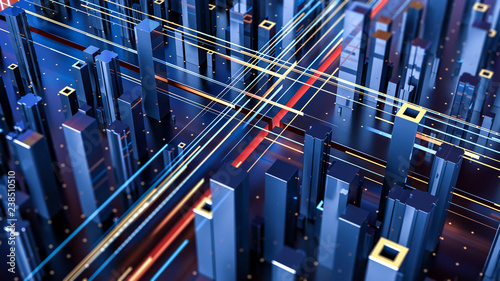 Creative abstract concept of technology and connection with city digital skyscrappers and traffic. 3d illustration. - 238510510