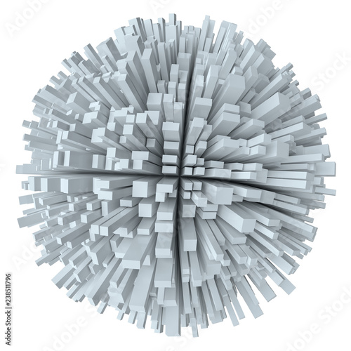 Abstract White Sphere With Cubes